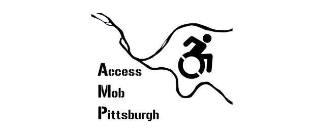 "Image of a traditional wheelchair user symbol in the middle of the three rivers of Pittsburgh. Text says, ""Access Mob Pittsburgh."""
